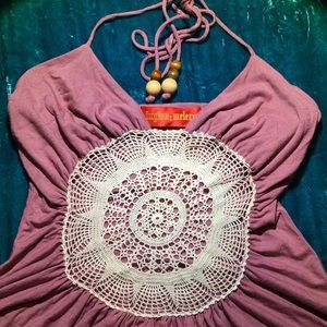 INGWA MELERO boho gypsy halter top with crochet XS